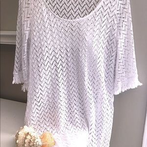 Mud Pie White Knit beach cover-up size large